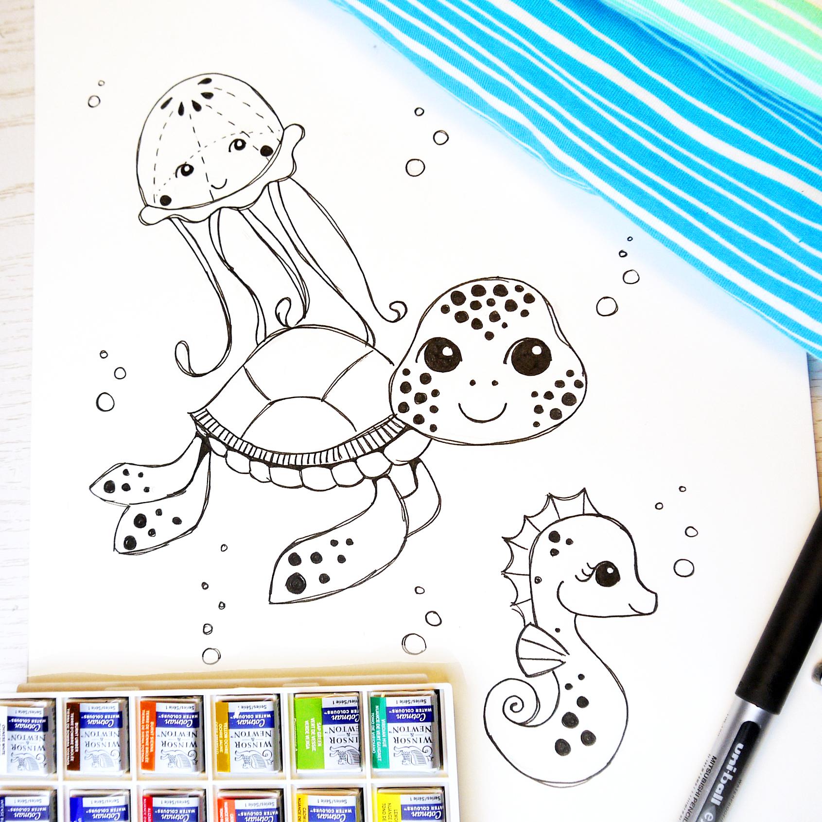 Textile Designs, Surface Designs, Illustration, textildesign, stoffdesign, Rebekah Ginda, seepferdchen, schildkröte, turtle