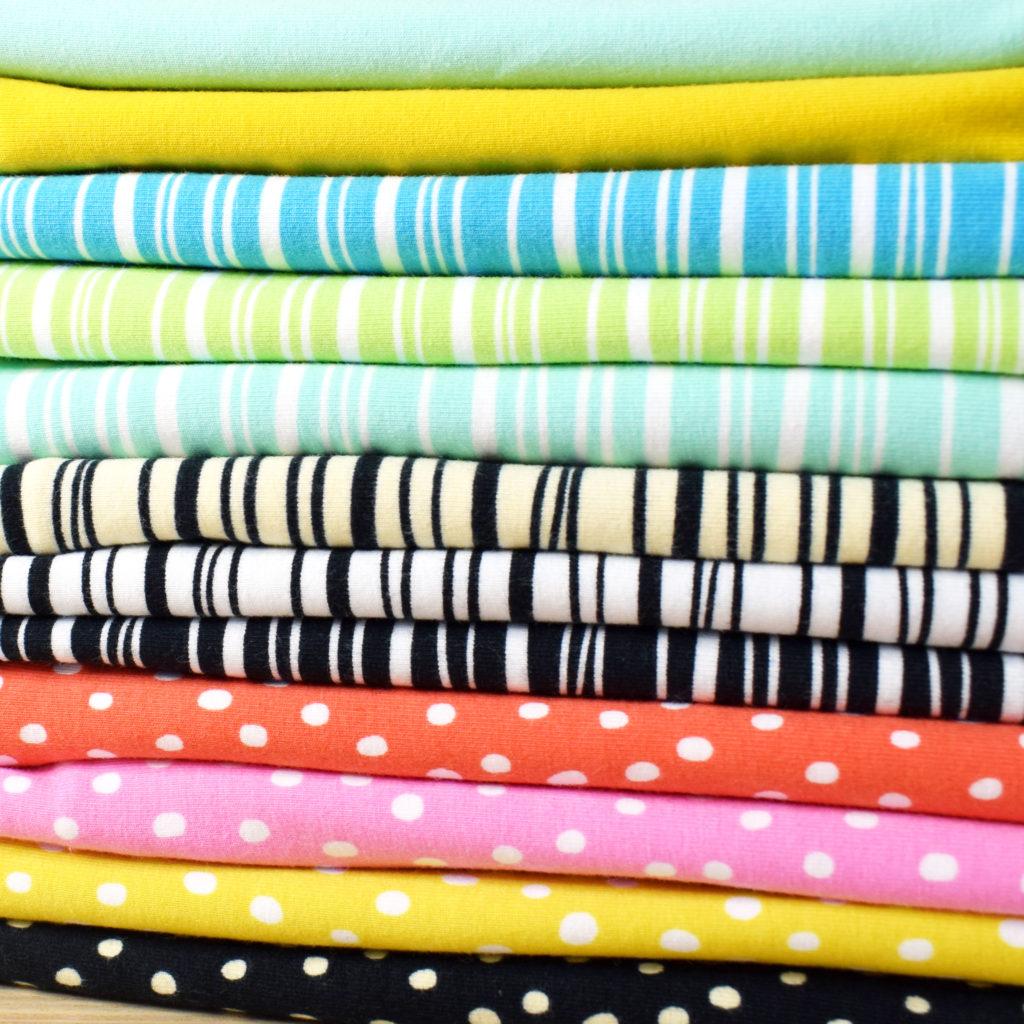 Tidöblomma Jersey Stoffe Fabric Rebekah Ginda GOTS stripes dots basics kumpelstoffe remsor streifen droppar pünktchen