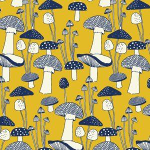 Mushrooms illustrative textile design for fabric and surface design, Textile Designs, Surface Designs, Illustration, textildesign, stoffdesign