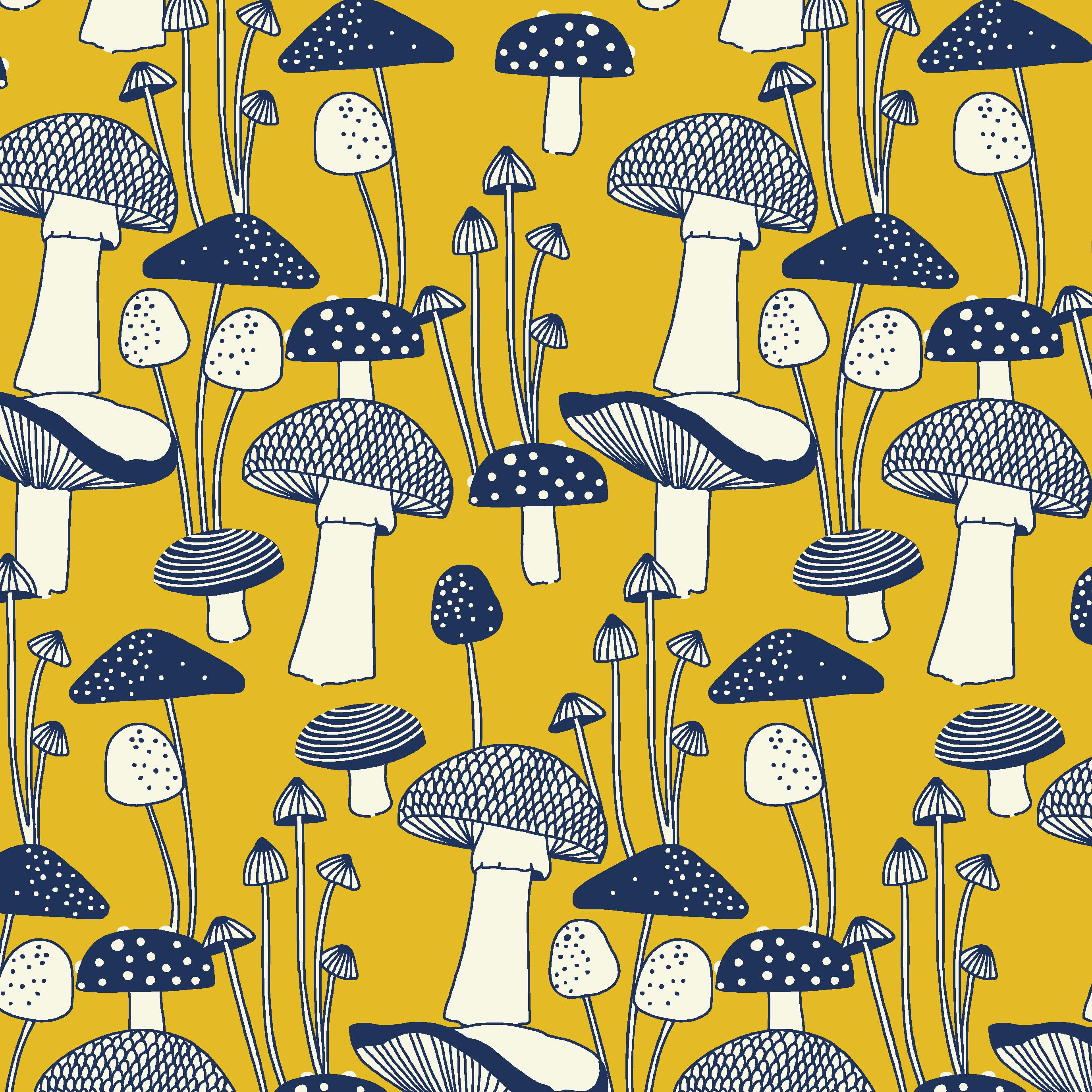 Mushrooms illustrative textile design for fabric and surface design, Textile Designs, Surface Designs, Illustration, textildesign, stoffdesign