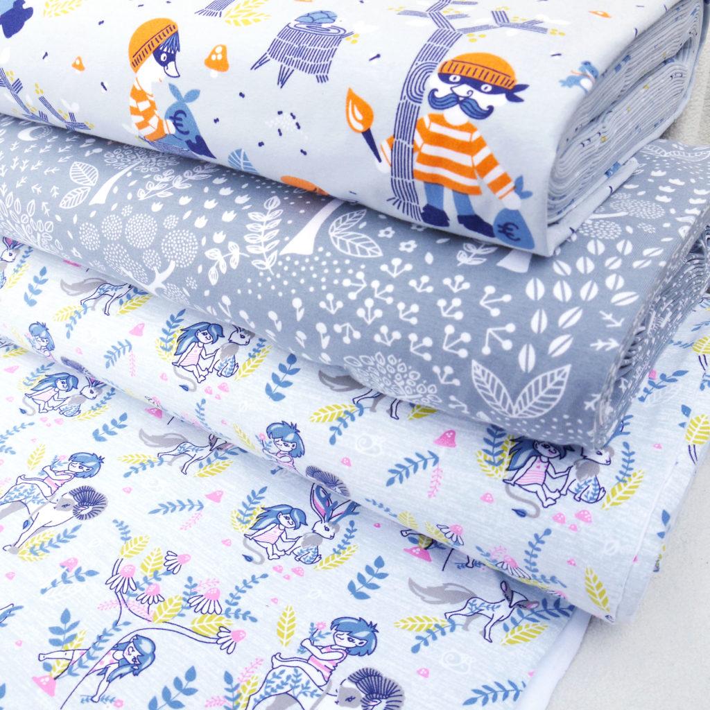 Tidöblomma Rebekah Ginda Zauberwald Lillskog Rövare Trollskog Jersey GOTS Kinderstoffe Stoffe Fabric