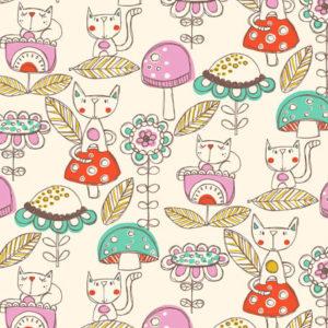 Kitties and Mushrooms illustrative textile design for fabric and surface design, Textile Designs, Surface Designs, Illustration, textildesign, stoffdesign