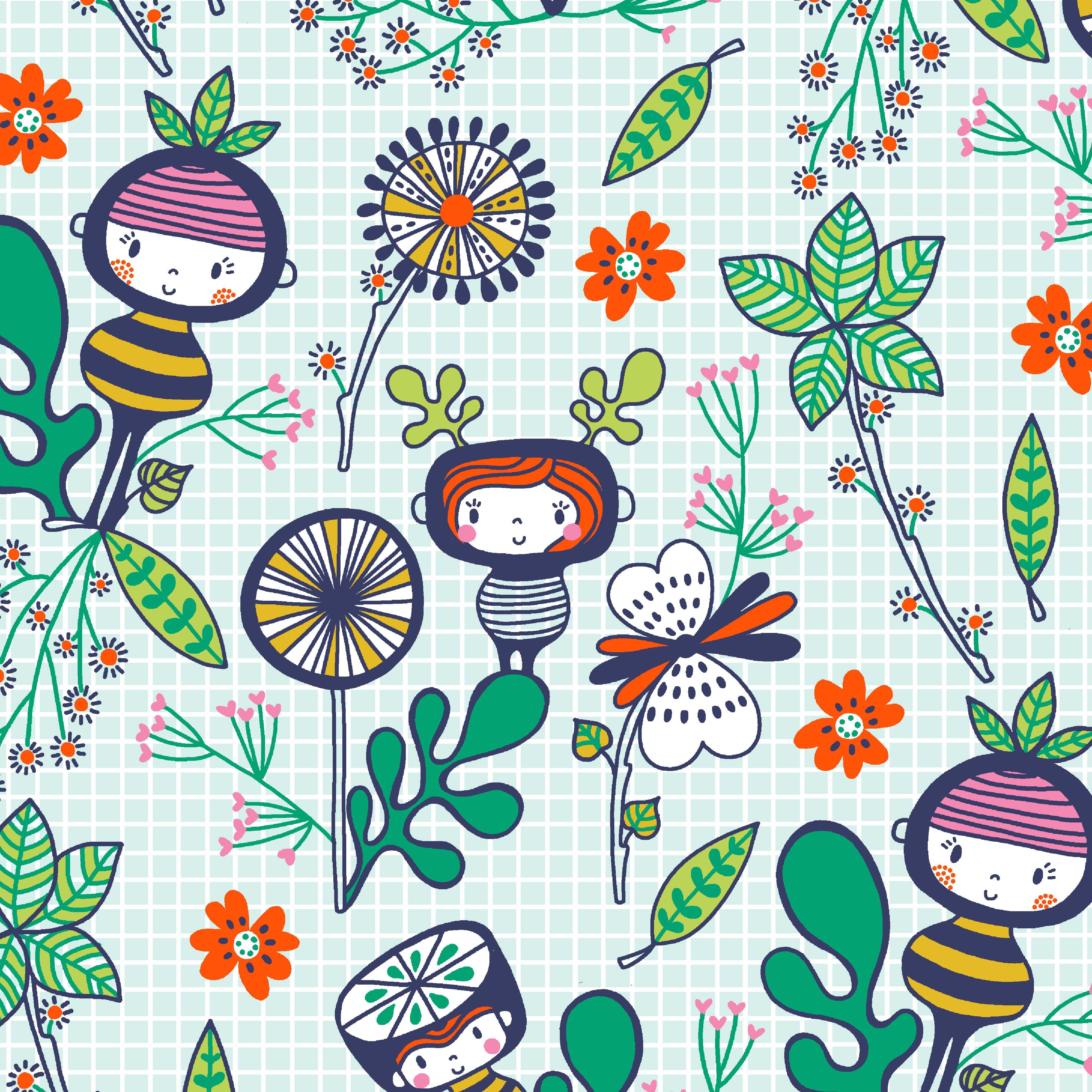whimsical, flowers, leaves, illustrative textile design for fabric and surface design, Textile Designs, Surface Designs, Illustration, textildesign, stoffdesign