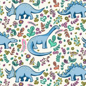 flowers, dinosaurs, girl, ditsy illustrative textile design for fabric and surface design repeat, Textile Designs, Surface Designs, Illustration, textildesign, stoffdesign